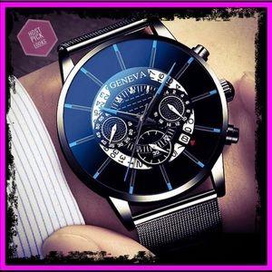Geneva Stainless Steel Calendar Quartz Watch